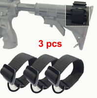 3Pcs Universal Rifle Gun Shotgun Stock Single Point Sling Loop Adapter Strap