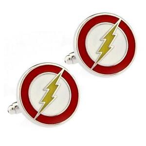 FLASH CUFFLINKS Lightning Bolt Red Super Hero Comic w GIFT BAG Groom Wedding