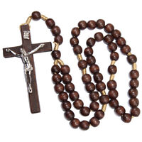 """Large Brown Wooden Rosary Beads with Crucifixion INRI Holy Land Handmade 62"""""""