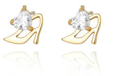 18 k Gold Plated Stud Earrings for Small Girls or Women White Princess Shoe E736