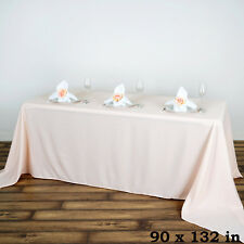 "BLUSH Polyester 90x132"" Rectangle TABLECLOTHS Wedding Party Supplies Linens"