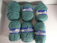 Darlaine Wool Blend 4 Ply Skeins Yarn Lot of 6 Seagreen Shade Crafts Knit