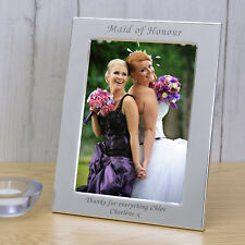 Wedding Party Role Silver Plated Photo Frame 6x4 - Personalised Engraved Gift Portrait Maid of Honour