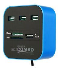 3 Port USB 2.0 Hub MS SD M2 TF Multi-In-1 Memory Card Reader Adapter laptop mac