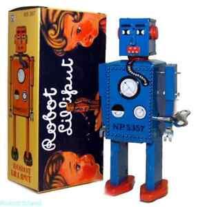 Lilliput Robot Windup Tin Toy Blue - Vintage style 1940's - NEW!
