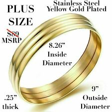 "Plus Size Ladies Yellow Gold Plated 3 Bangle Bracelet Set Semanario 2.75"" Dia"
