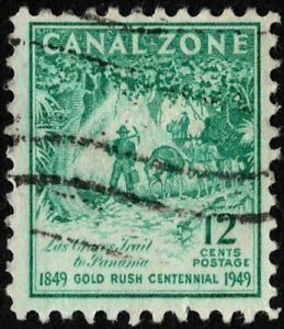 Canal Zone - 1949 - 12 Cents Bright Blue Green Las Cruces Trail Issue # 144 F-VF