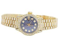 Rolex 18K Yellow Gold 26MM Datejust Blue Presidential 69178 Diamond Watch 9 Ct