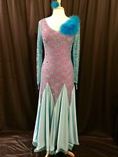 Ballroom Smooth Competition Costume Ladies US 10-14 Turquoise Purple Swarovski