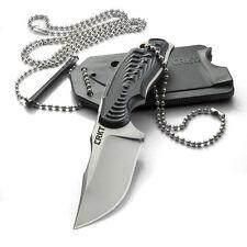 Couteau de Cou CRKT Civet Bowie Lame Acier 8Cr13MoV Manche GRN Etui Kydex CR2805