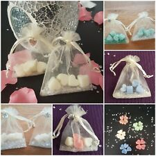 60 wedding favours ready made party gifts scented Heart melts organza bag charm