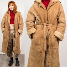 VINTAGE BEIGE SUEDE SHEEPSKIN STYLE COAT JACKET FAUX SHEARLING LINED WARM 12 14