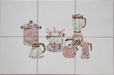 Fliesen 15x15 Fliesen 6er Bild, Küchenfliesen mit Kaffeekanne, Fondue, Mixer