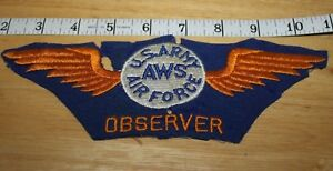 Vintage   US ARMY AIR FORCE   AWS   OBSERVER  FELT  WING  PATCH