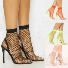 Runway Clear Fishnet Stocking Pointed High Heels Sandals Booties Fashion Shoes