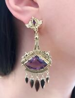 Vintage Amethyst Drop Earrings in 18k Yellow Gold - HM1977SE