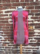 Custo Barcelona Chic 2 Red Mod Art Print Jersey Knit Crochet Turtleneck Tunic