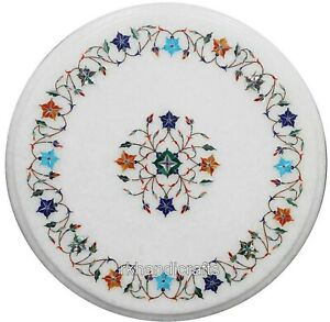 Multi Gemstones Inlay Art Coffee Table Top Marble Bed Side 14 Inches