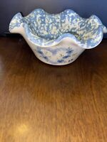 East Texas Pottery Marshall TX Crimped-Scalloped Edge Bowl Pink Blue Flowers