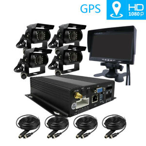1080P 4CH SD GPS Car DVR Rear View system Realtime Vehicle Recorder IR Camera
