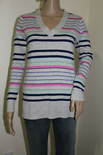 Gap Women's Long Sleeve V-Neck  Light Heather Stripe Sweater NWT Size X-SMALL