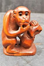 "antique japanese netsuke "" The wise old Monkey with his nut """