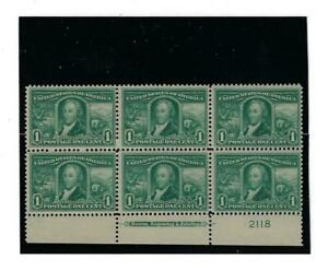 US SCOTT 323 ONE CENT LOUISIANA PURCHASE PLATE BLOCK OF 6 STAMPS MNH