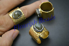 1pc Gold plating Natural Labradorite Cabochon Band Rings Fashion Cool Jewelry