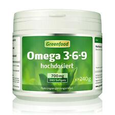 Greenfood Omega 3-6-9, 700 mg, extra hochdosiert, 240 Softgel-Kapseln