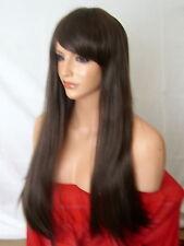 Long Medium Brown straight fashion costume fringe party costume women Wig N-4