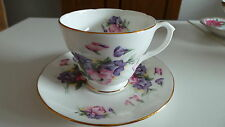 Vintage Duchess Tea Cup and Saucer with Purple and Pink Flowers