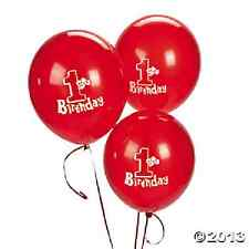 1st Birthday Red Latex Balloon 12 Piece Party Supplies