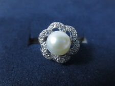 8.7 mm White Freshwater Pearl CZ 925 Sterling Silver Ring Size 8.75 Tmt Unknown