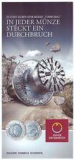 *BROCHURE* 2013 AUSTRIA BIMETAL SILVER/NIOBIUM €25 TUNNEL CONSTRUCTION *NO COIN*