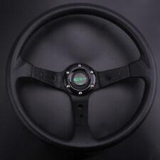 """95mm Deep Dish Universal 350mm 14"""" Racing Car 6 Bolt Steering Wheel Horn Button"""