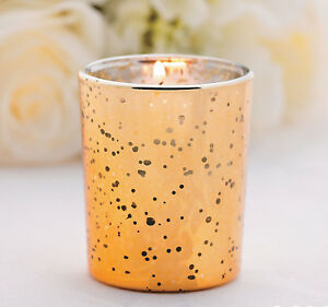12 Gold or Copper Flecked Mercury Glass Votive Candle Holders Wedding Home Decor