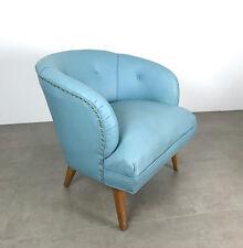 Vintage Mid Century Danish Modern Tufted Blue Wide Barrel Back Lounge Chair