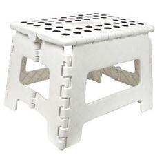 Weiß Umklappbar Tritthocker Mehrzweck Klein Plastik Stuhl Heim Küche Neu
