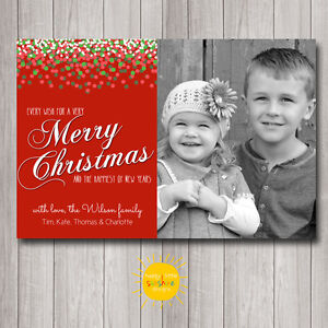 Personalised Christmas Photo Cards Digital or Printed Confetti Red, White, Green
