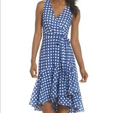 Eliza J Blue Gingham Belted Faux Wrap Dress Ruffle Hem Flounce Sz 12P 12 Petite