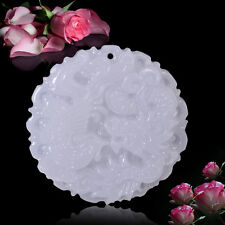 Anhänger Kettenanhänger Kreis Rund Weiß Jade Drache Halskette Drache Jade