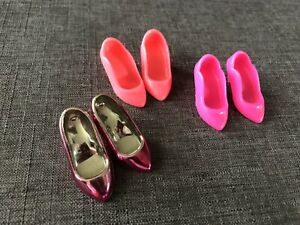 Vintage Jem and the Holograms Doll Shoes Lot 3 Pairs Pink Hot Pink 80's