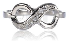 Zirconia Sterling Silver Ring Fashion Infinity Clear Cubic