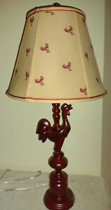 """Rooster Country Farm House Red Table Lamp Shabby Cottage Chic 19"""""""