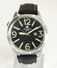 AEROMATIC 1912 MEN'S STAINLESS STEEL WATCH WITH BLACK DIAL AND BAND A1370