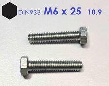 5 Stück Schraube DIN 933 M6x25 10.9 verzinkt ( Sechskantkopf )