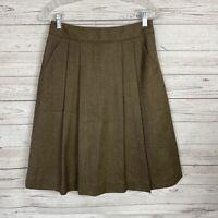Brooks Brothers 346 Womens Pleated Skirt Size 2 Brown Wool Below Knee Side Zip