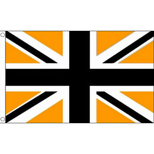 Union Jack Black / Gold Flag 5 x 3 FT - British Flag Great Britain UK Wolves