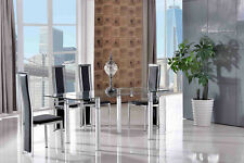 Verona Tempered Glass Dining Room Table & 4 Ivory Elsa Leather Chairs Black