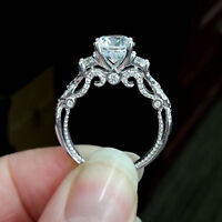 1.50 Ct Round Cut Diamond 14k White Gold Finish Filigree Vintage Engagement Ring